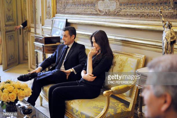 French President Nicolas Sarkozy and his wife Carla BruniSarkozy receive the Betancourt family and former hostage of the Revolutionary Armed Forces...