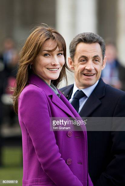 French President Nicolas Sarkozy and his wife First Lady of France Carla BruniSarkozy visit the Old Royal Naval College in Greenwich on the second...