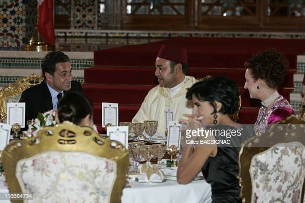 French President Nicolas Sarkozy And Hm Mohamed Vi At The Royal Palace For An Official Diner In Rabat Morocco On October 22 2007