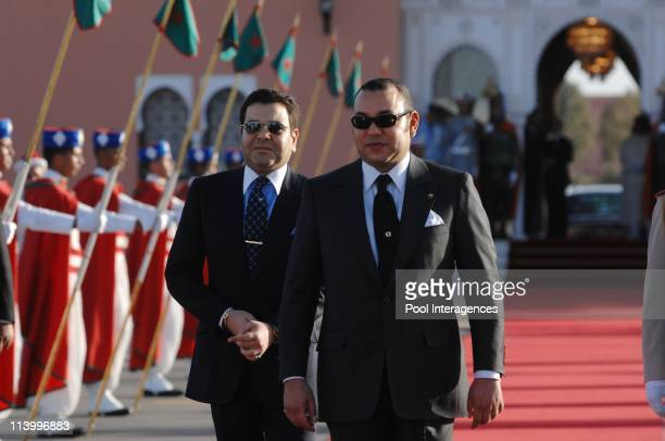 French President Nicolas Sarkozy and HM Mohamed VI King of the Kingdom of Morocco during the welcoming Ceremony at the Marrakech Airport In Marrakech...