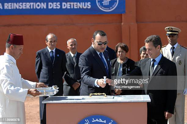 French President Nicolas Sarkozy and HM Mohamed VI King of the Kingdom of Morocco during the visit of a Rehabilitation Center for Young people In...