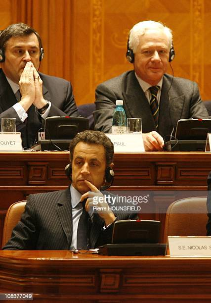 French president Nicolas Sarkozy and Maurizio Remmert in Bucarest Romania on February 04th 2008