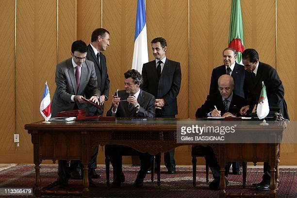 French President Nicolas Sarkozy And President Of Algeria Abdelaziz Bouteflika Preside At The Contracts Signing Ceremony In Algiers Algeria On...