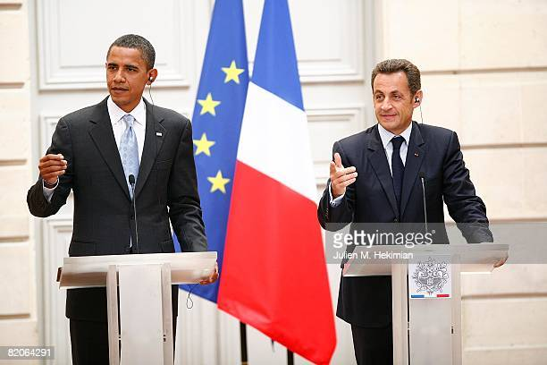 French president Nicolas Sarkozy and presumptive U.S. Democratic presidential candidate Sen. Barack Obama speak at a joint press conference at Elysee...