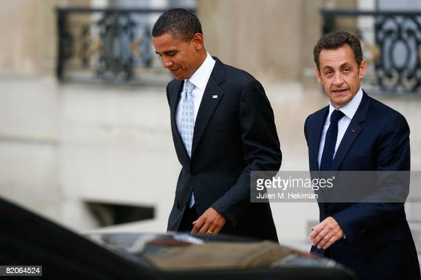 French president Nicolas Sarkozy and Presumptive U.S. Democratic presidential candidate Sen. Barack Obama depart Elysee Palace on July 25, 2008 in...