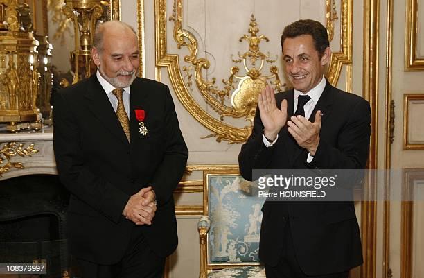 French President Nicolas Sarkozy and Tahar Ben Jelloun in Paris France on February 01st 2008
