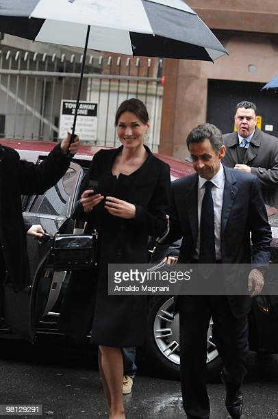 French President Nicolas Sarkozy and wife Carla Bruni leave Amaranth restaurant on March 29 2010 in New York City
