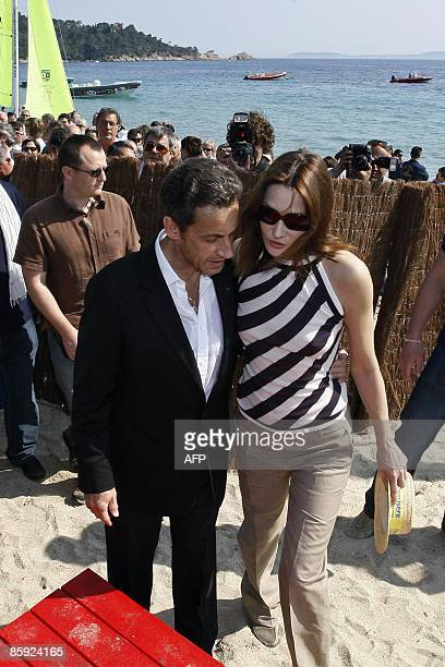 French President Nicolas Sarkozy and wife First Lady Carla BruniSarkozy attend the trophy ceremony of the first edition of the Virginio BruniTedeschi...