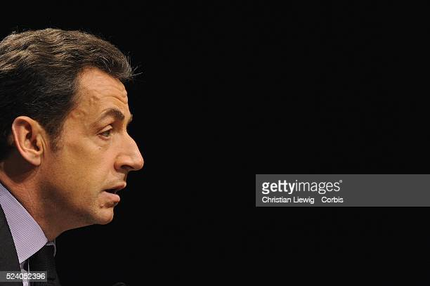 French President Nicolas Sarkozy announces in a speech at Ecole Polytechnique measures to help people from disadvantaged neighborhoods obtain access...