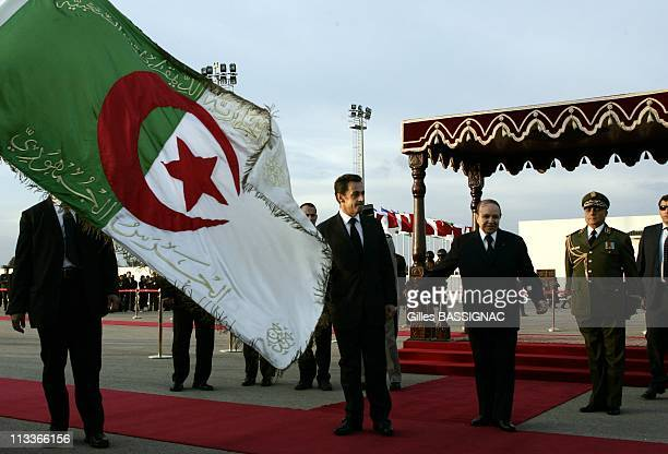 French President Nicolas Sarkozy Arrives At The Algiers Airport Houari Boumedienne Welcomed By President Abdelaziz Bouteflika In Algiers Algeria On...