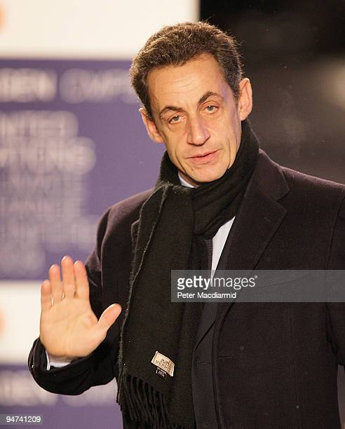 French President Nicolas Sarkozy arrives for the final day of the UN Climate Change Conference on December 18 2009 in Copenhagen Denmark World...
