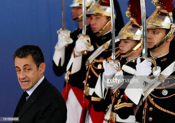 French President Nicolas Sarkozy arrives for the second day of the G20 Summit on November 4 2011 in Cannes France The world's top economic leaders...