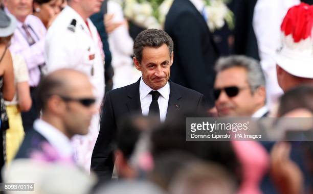 French President Nicolas Sarkozy arriving for the wedding of Prince Albert II of Monaco and Charlene Wittstock at the Place du Palais