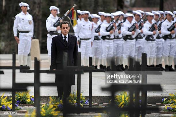 French President Nicolas Sarkozy attends a ceremony to pay tribute to World War II resistance fighters on April 8 2010 at the Necropole de Morette a...