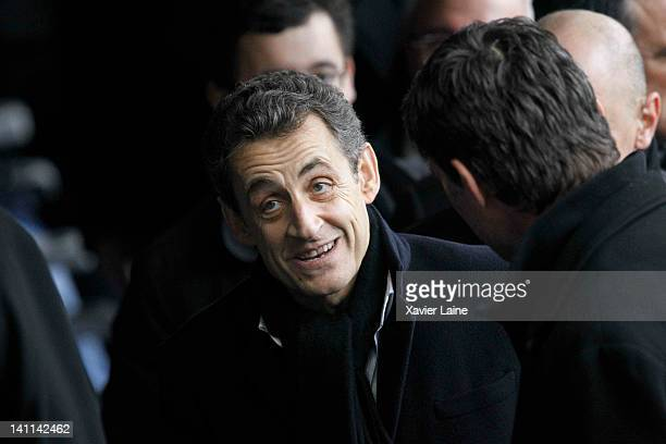 French President Nicolas Sarkozy attends the RBS Six Nations Tournament between France and England at Stade de France on March 11 2012 in Paris France