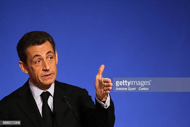 French President Nicolas Sarkozy delivers a speech a the Elysee Palace to announce the French state's move to raise 35 billion Euros to fund...
