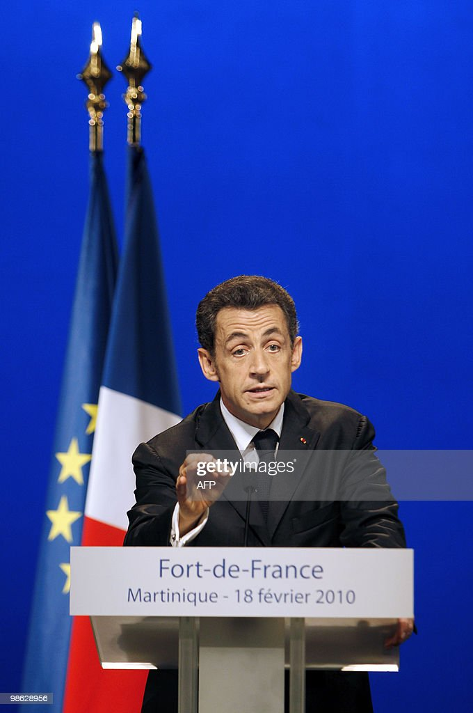 French president Nicolas Sarkozy delivers a speech on February 18, 2010 in Fort-de-France, as part of his travel to the French overseas departments of Martinique and French Guiana.