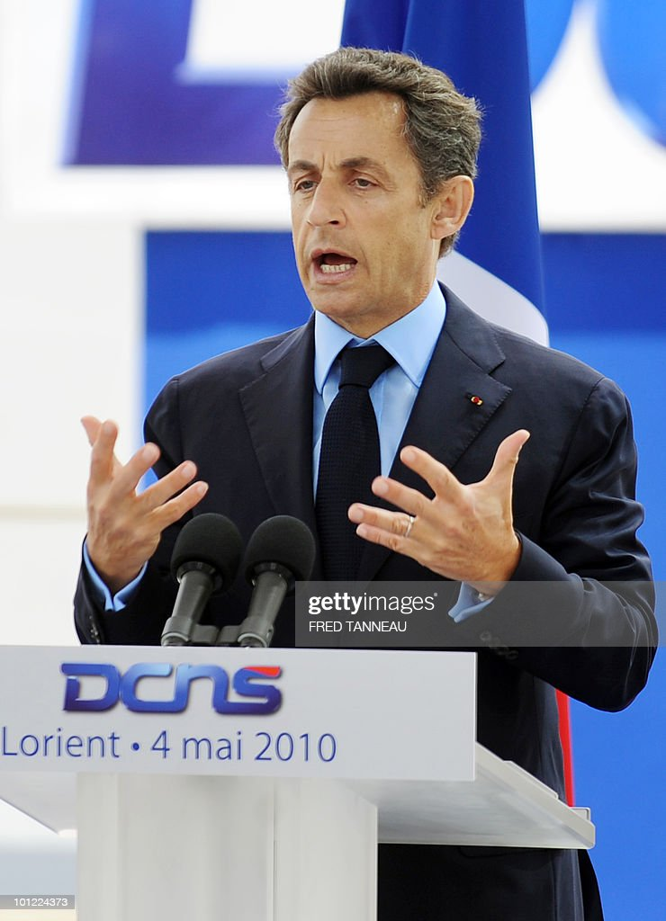 French President Nicolas Sarkozy delivers aspeech at the 'Aquitaine' frigate launching ceremony at Lorient's shipyard on May 04, 2010, western France. The Aquitaine frigate is the first ship built for the French Navy by French naval defence group DCNS part of the FREMM (European multi-missions frigates) programm developed with Italy.