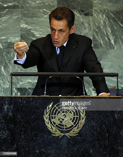 French President Nicolas Sarkozy during a Highlevel Meeting on Nuclear Safety and Security at the 66th UN General Assembly at the United Nations...