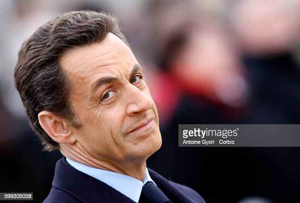 French President Nicolas Sarkozy during a military tribute to the 84 million Frenchmen who fought in the World War I in a solemn ceremony at Les...