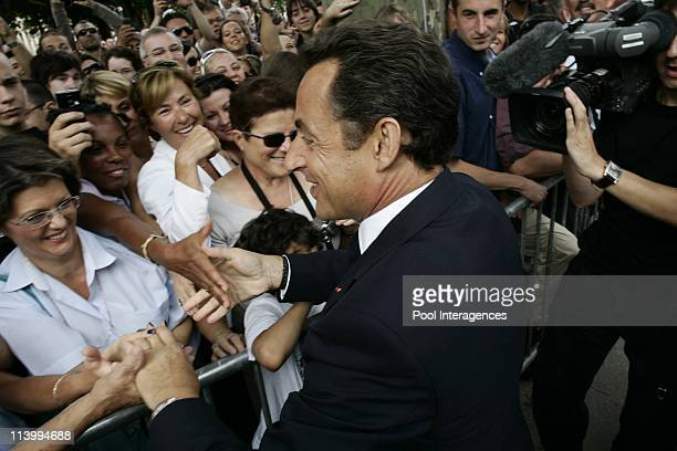 French president Nicolas Sarkozy during bastille Day at the Champs Elysees In Paris France On July 14 2007French President Nicolas Sarkozy and French...