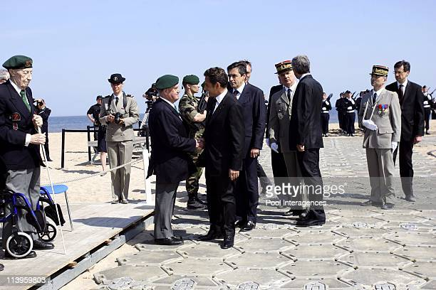 French president Nicolas Sarkozy during the commemoration of the armistice of May 8 in Ouistreham, France on May 08, 2008-He is here for the 63rd...