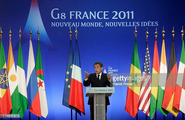 French President Nicolas Sarkozy gives a press conference at the conclusion of the Group of Eight summit on May 27 2011 in Deauville France The...