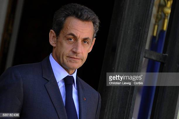 French President Nicolas Sarkozy greets Armenian President Serge Sarkissian at the Elysee Palace in Paris France 28 September 2011