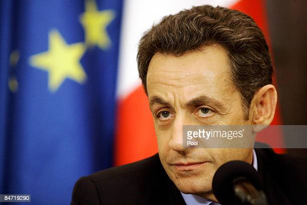 French President Nicolas Sarkozy looks on during a joint press conference with Iraqi President Jalal Talabani on February 10 2009 in Baghdad Iraq...