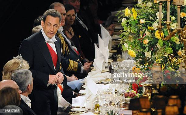 French President Nicolas Sarkozy makes a speech during the state banquet on March 26 2008 at Windsor Castle in Windsor England President Sarkozy and...