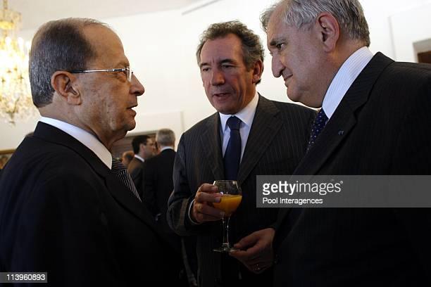 French president Nicolas Sarkozy meets counterpart Michel Sleimane in Beirut Lebanon on June 07 2008Michel Aoun Francois Bayrou president of 'MODEM'...