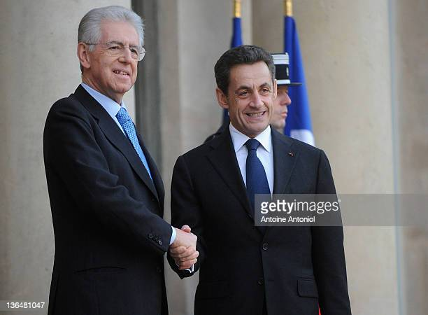 French President Nicolas Sarkozy meets recently elected Italian Prime Minister Mario Monti at the Elysee Palace on January 6, 2012 in Paris, France....