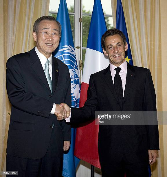 French President Nicolas Sarkozy meets with the United Nations Secretary General Ban Kimoon at the French Consulate July 17 2009 in New York Tomorrow...