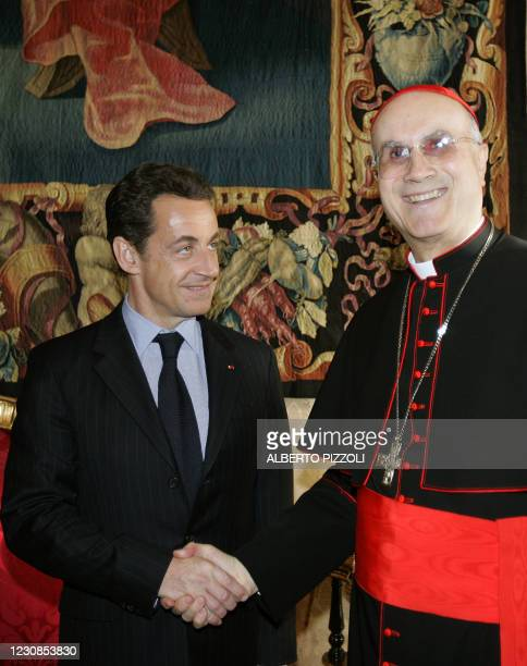 French president Nicolas Sarkozy meets with Vatican secretary of State cardinal Tarcisio Bertone during a private audience at the Vatican, 20...
