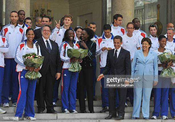 French President Nicolas Sarkozy , Minister for Health and Sports Roselyne Bachelot-Narquin , France's Junior Minister for Sports, Rama Yade and...