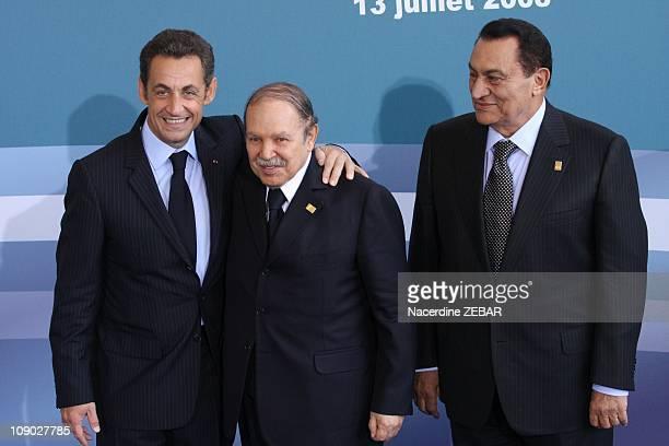 French President Nicolas Sarkozy receives Algerian President Abdelaziz Bouteflika and Egyptian President Hosni Mubarak on July 13 2008 in Paris France