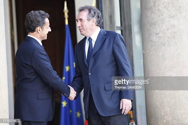 French President Nicolas Sarkozy receives Francois Bayrou the leader of the MoDem in Paris France on June 11th 2009 French President Nicolas Sarkozy...