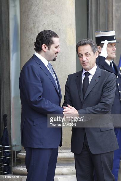 French President Nicolas Sarkozy receives Lebanon's Prime Minister Saad Hariri at the Elysee Palace in Paris France on January 22nd 2010 French...