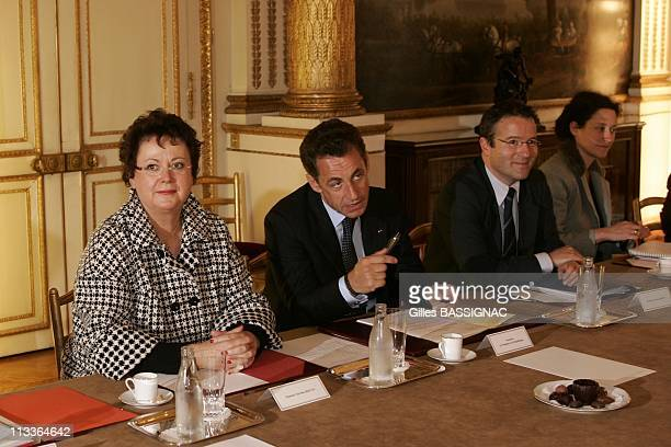 French President Nicolas Sarkozy Receives The Representants Of 11 Associations Who Fight For Extreme Poverty In Paris France On October 15 2007...