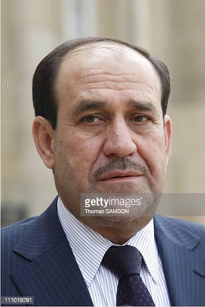 French President Nicolas Sarkozy recieves Irakian Prime Minister Nouri alMaliki at Elysee Palace in Paris France on May 04th 2009 Iraq Prime Minister...