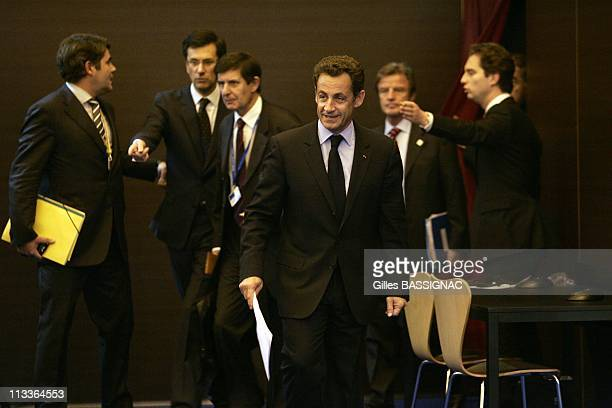 French President Nicolas Sarkozy 'S Press Conference At The Informal Summit Of Heads Of State And Government From The European Union In Lisbon...