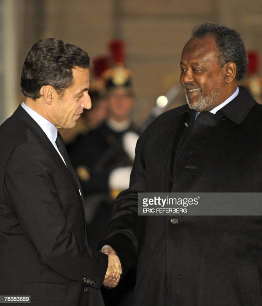 French President Nicolas Sarkozy shakes hands with his Djibouti counterpart Ismail Omar Guelleh prior to a meeting at the Elysee Palace in Paris 11...