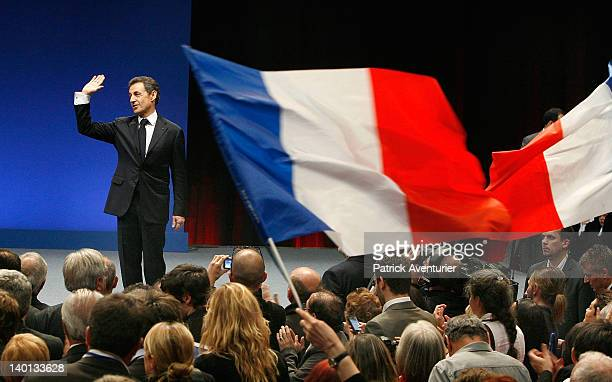 French President Nicolas Sarkozy speaks at a meeting of the conservative UMP party at Le Zenith on February 28 2012 in Montpellier France Sarkozy who...