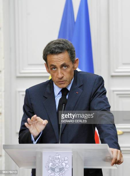 French President Nicolas Sarkozy speaks during a press conference after a meeting with French bank executives over bonuses on August 25 2009 at the...