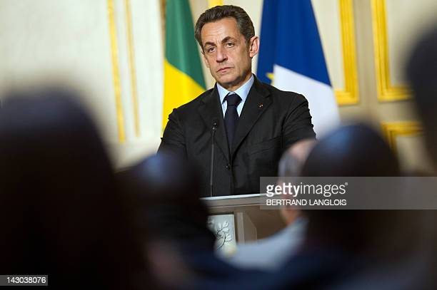 French president Nicolas Sarkozy speaks during a press conference with Senegal's newlyelected President Macky Sall at the Elysee palace after a...