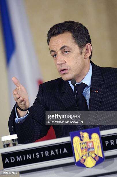 French President Nicolas Sarkozy speaks during his joint press conference with his Romanian counterpart Traian Basescu at the Cotroceni Presidential...