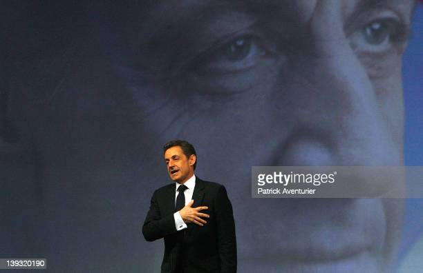 French President Nicolas Sarkozy speaks during the UMP presidential support meeting on February 19 2012 in Marseille France Sarkozy the UMP candidate...