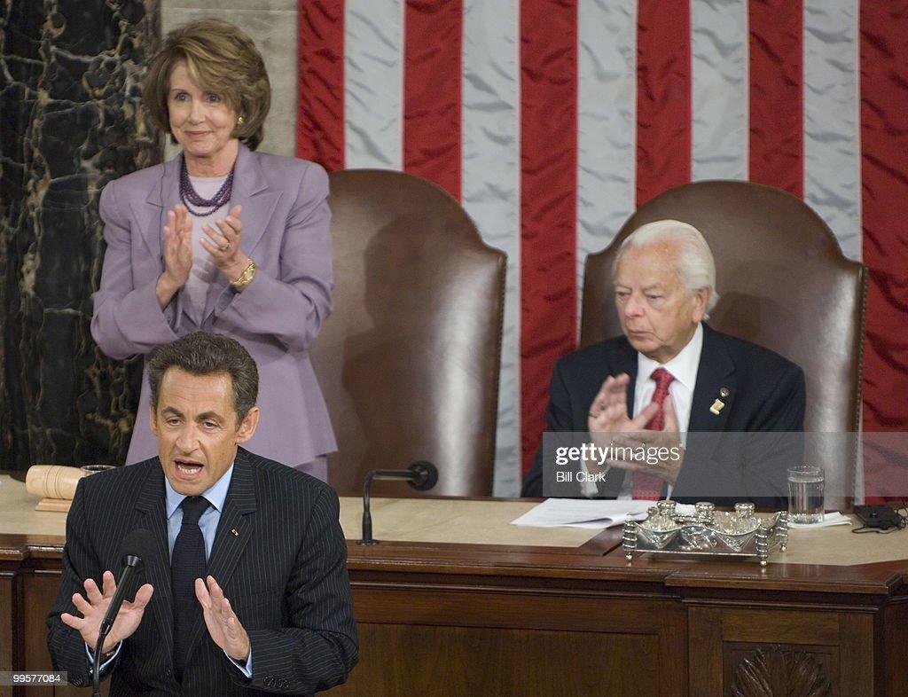 French President Nicolas Sarkozy speaks to a joint meeting of Congress as Speaker of the House Nancy Pelosi, D-Calif., and Sen. Robert Byrd, D-W.Va., listen on Wednesday, Nov. 7, 2007.