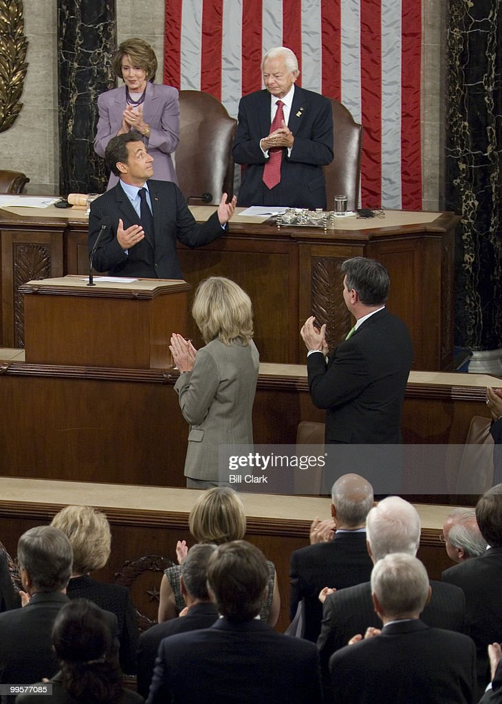 French President Nicolas Sarkozy speaks to a joint meeting of Congress as Speaker of the House Nancy Pelosi, D-Calif., and Sen. Robert Byrd, D-W.Va., listen on Wednesday, Nov. 7, 2007.