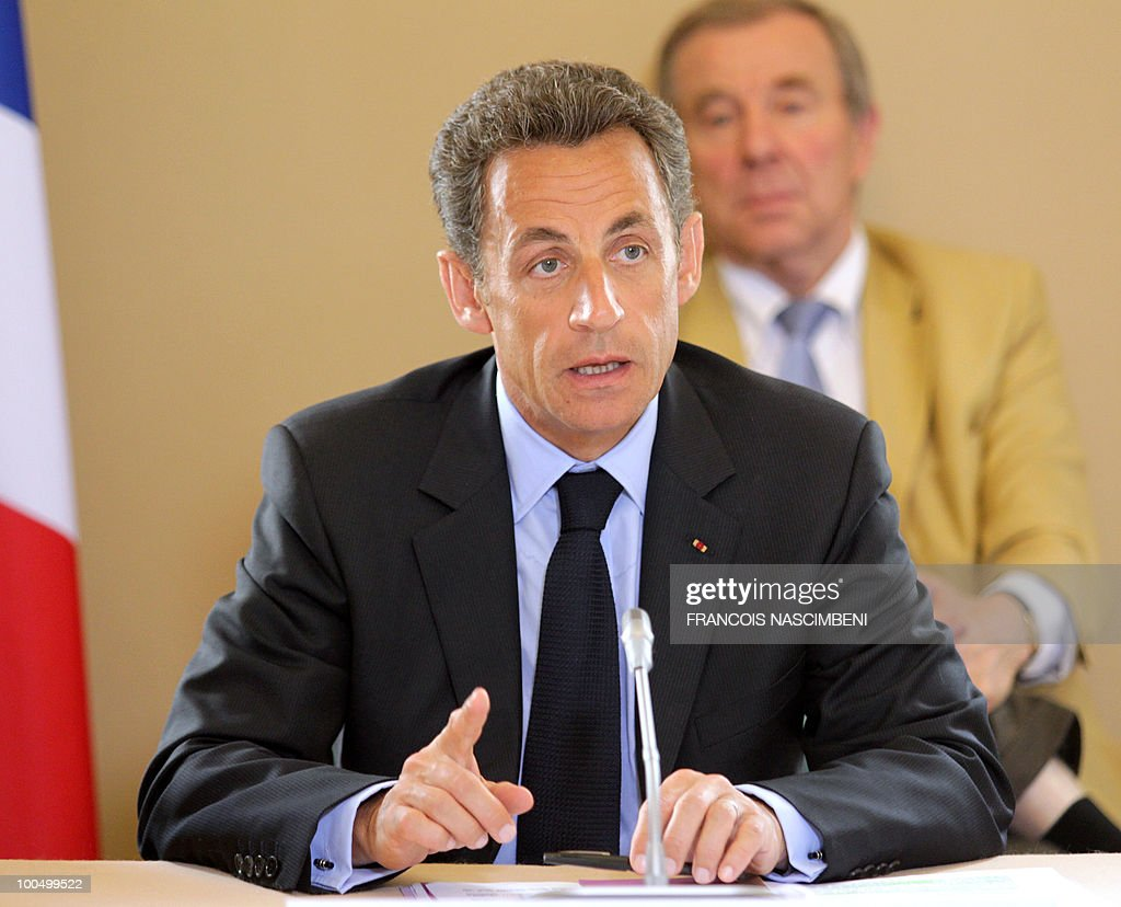 French President Nicolas Sarkozy takes part in a meeting on school violences and truancy, on May 25, 2010 in Beauvais, northern France.